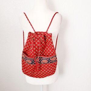 Vera Bradley Red Floral Paisley Drawing Backpack